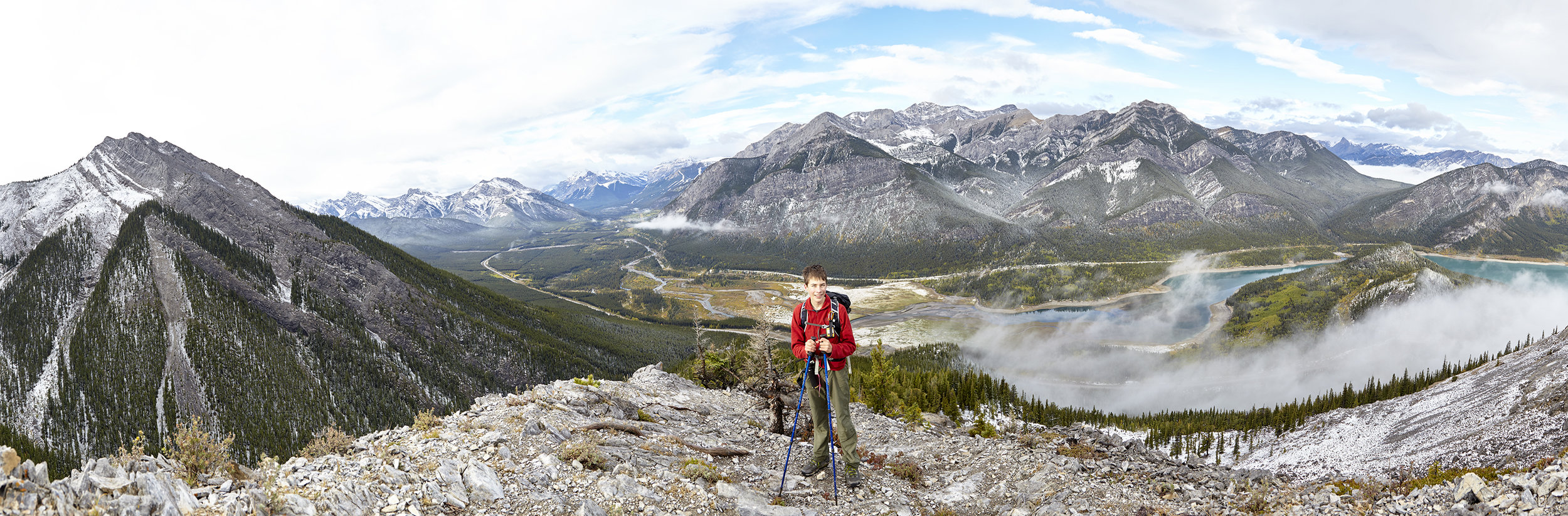 A panorama of the Kananaskis Valley from near the crux down climb.