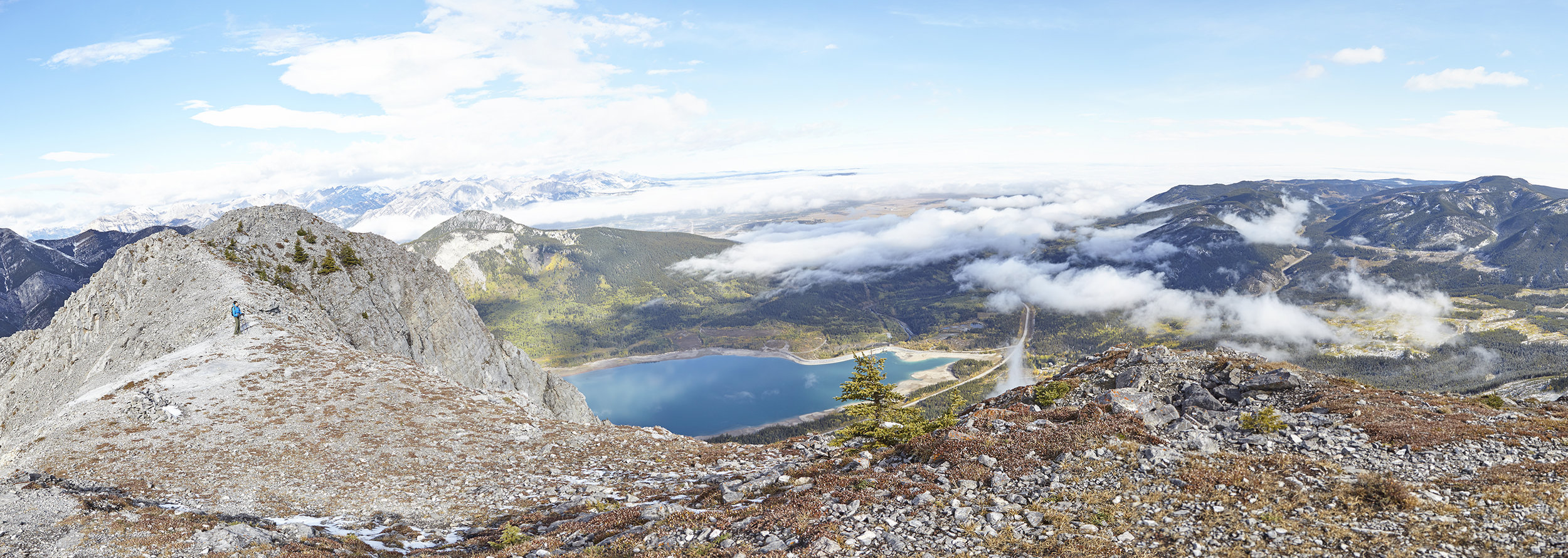 A panorama of Baldy North and Barrier Lake.