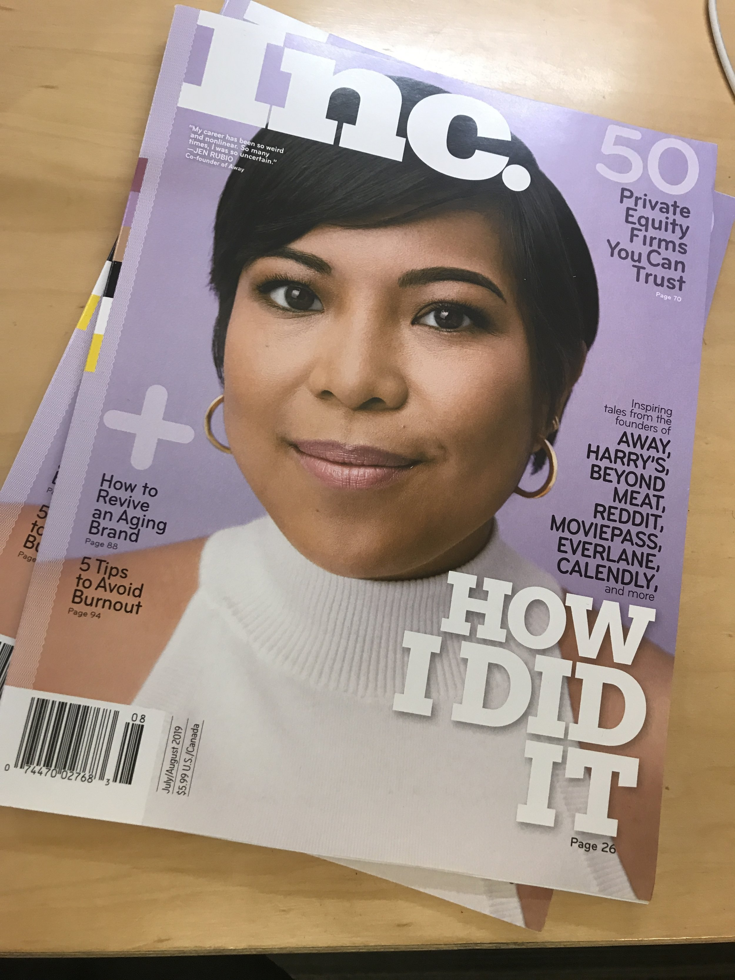 The July/August issue of Inc. magazine, featuring Jen Rubio, co-founder and CEO of Away.