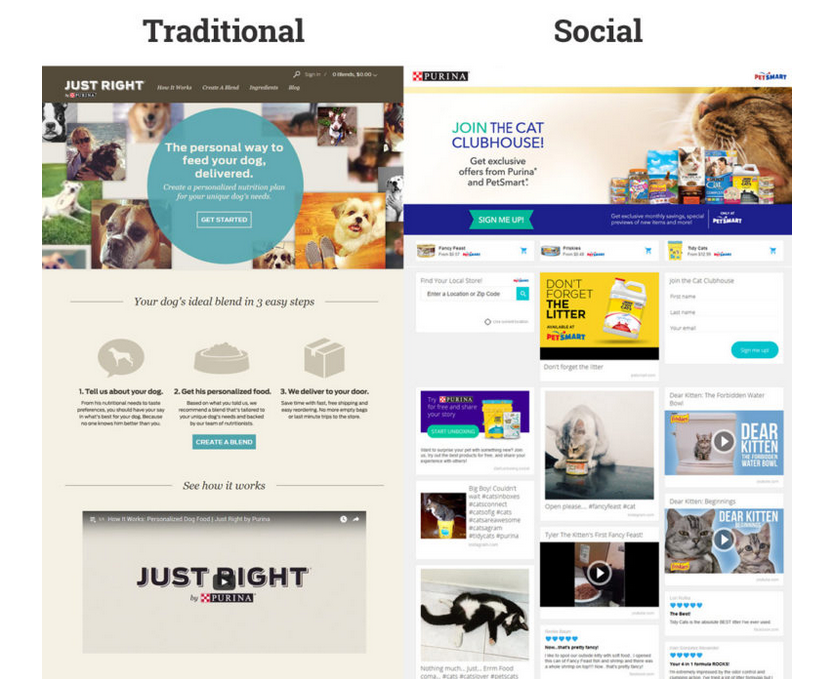 Unboxed's illustration of traditional vs social landing pages