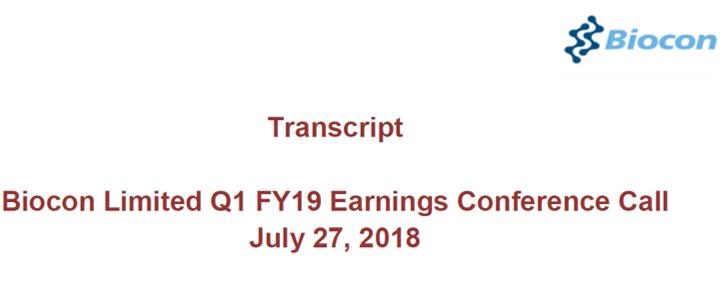 Q1FY19 Concall Transcript