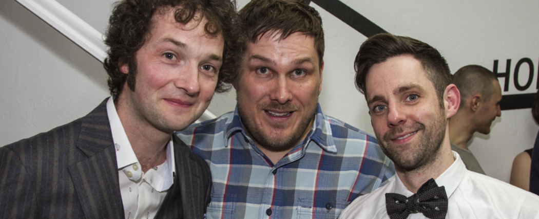 L-R:  Chris Addison  (Comedian),  Marc Wootton  (Comedian ),  Me  (Paper Dandy)