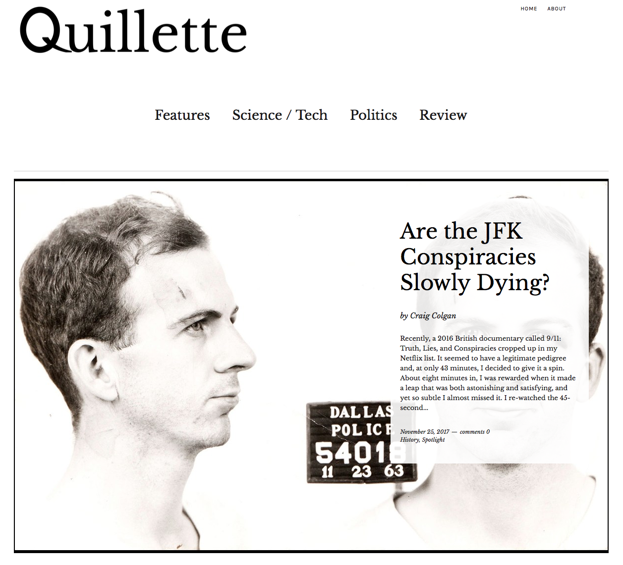 Quillette: The end of the JFK conspiracies
