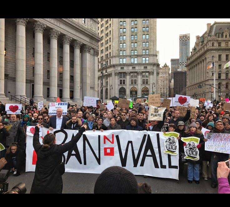I was lead organizer for the Muslim Ban Rapid Responses in NYC. This picture was taken after 30,000 New Yorkers marched from Battery Park to Foley Square. #NoBanNoWall.