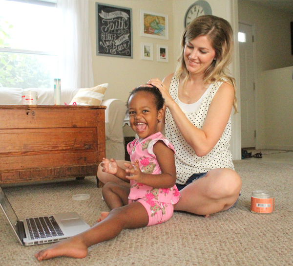 """I'm not an expert by any means - my parts aren't always straight and my braids aren't perfect.  Someday she may go to a professional and that's ok... These moments are precious to me because they are regular opportunities to bond with my daughter, and reinforce in her heart that she is important, beautiful, and unique"" - Lauren Casper"