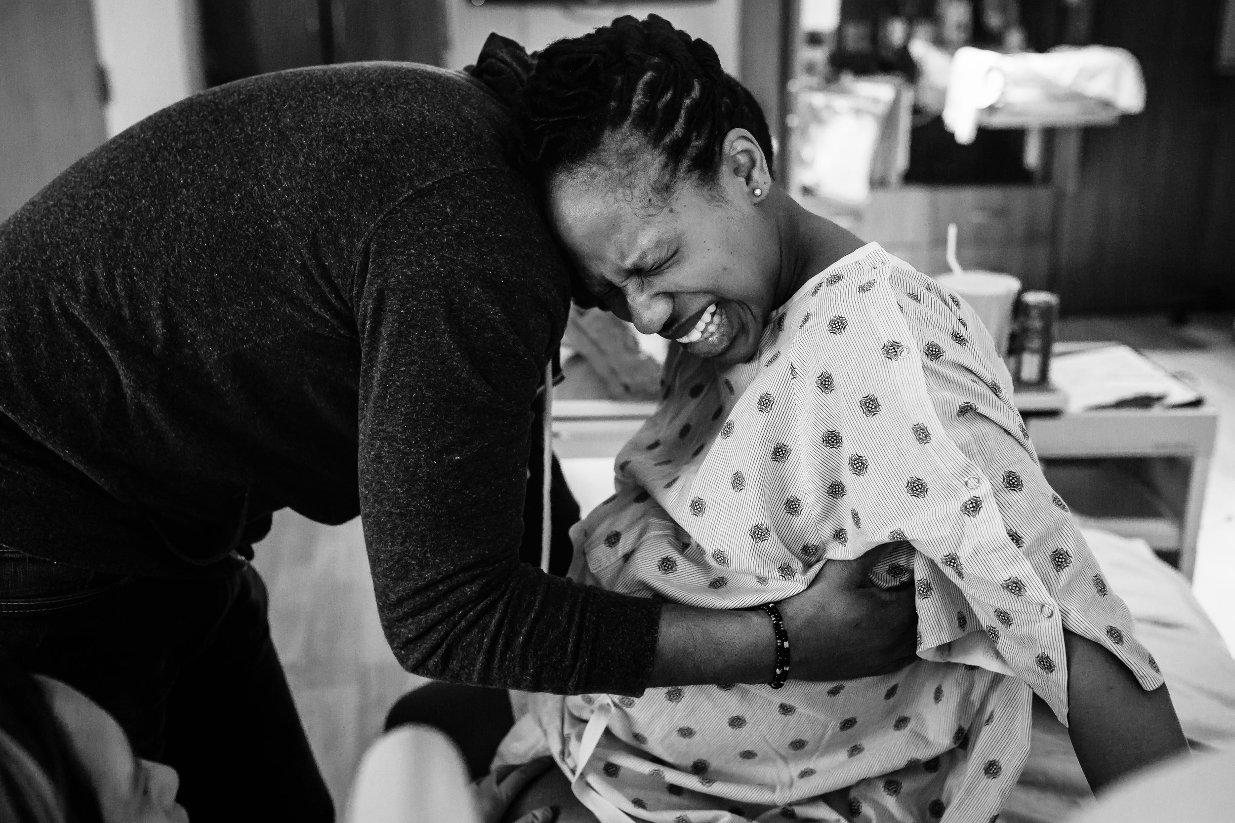 Nadia in labor with Nuri, April 2017.
