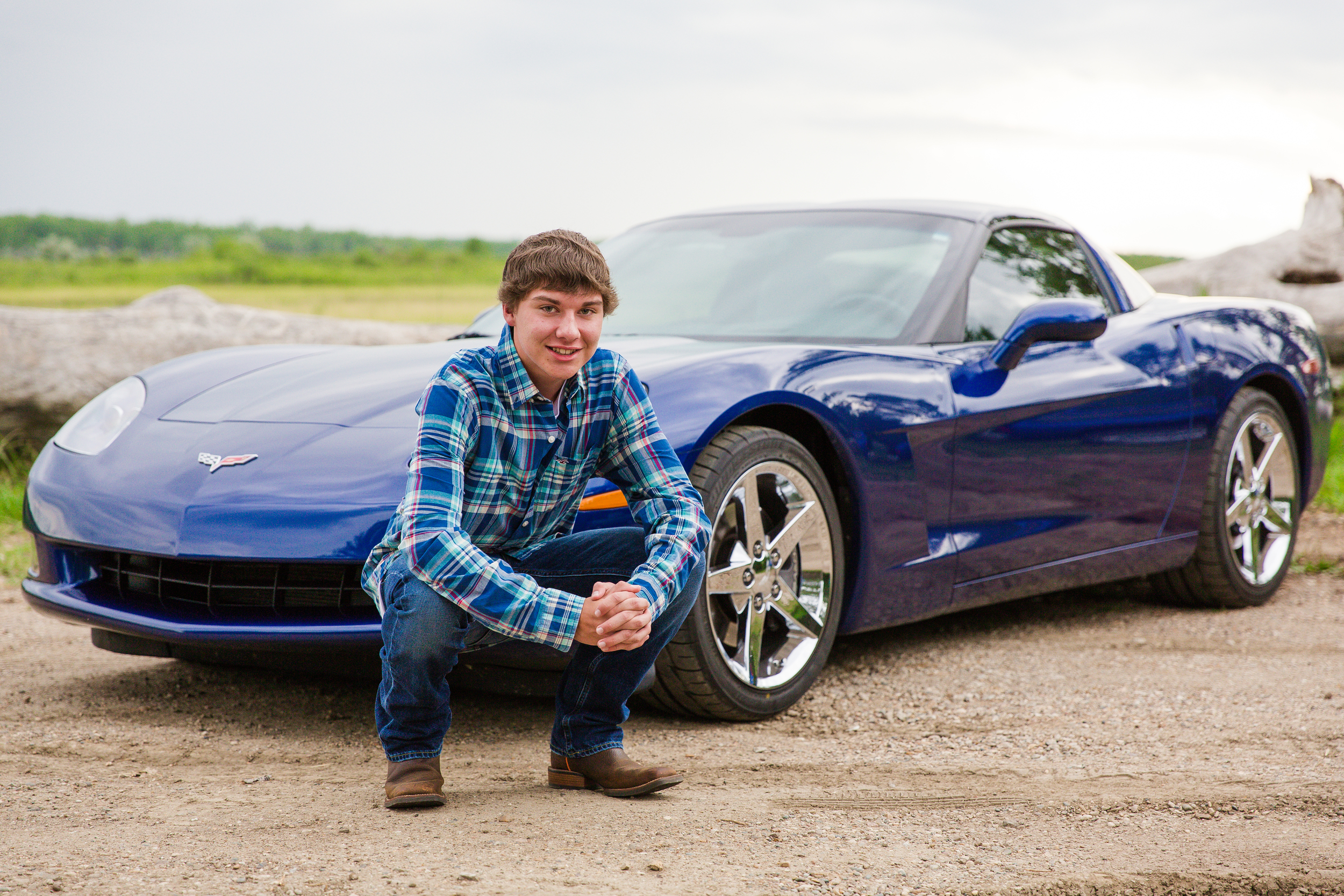 Chase is the definition of Fast Cars and Freedom. We started his session in front of this beautiful blue Chevy Corvette and ended it next to his Chevy Pick-up parked along a country field. Chase will be graduating from Mandan High School and plans to become a Fire Fighter.