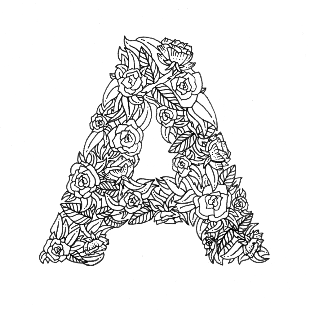 26 Alphabet Coloring Pages Illustrated With Flowers Digital Download Boelter Design Co