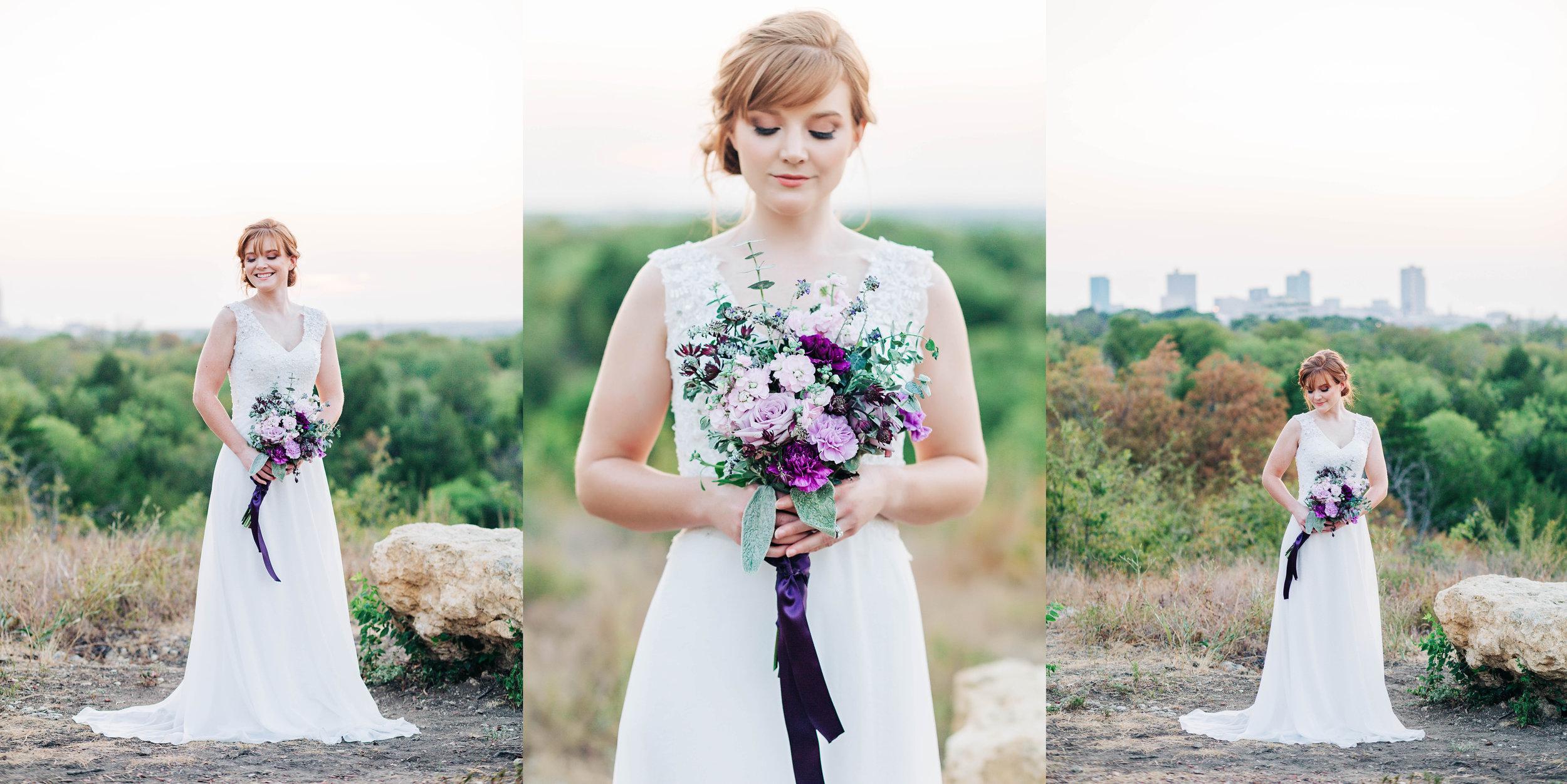 Fort Worth Texas skyline bridal portraits