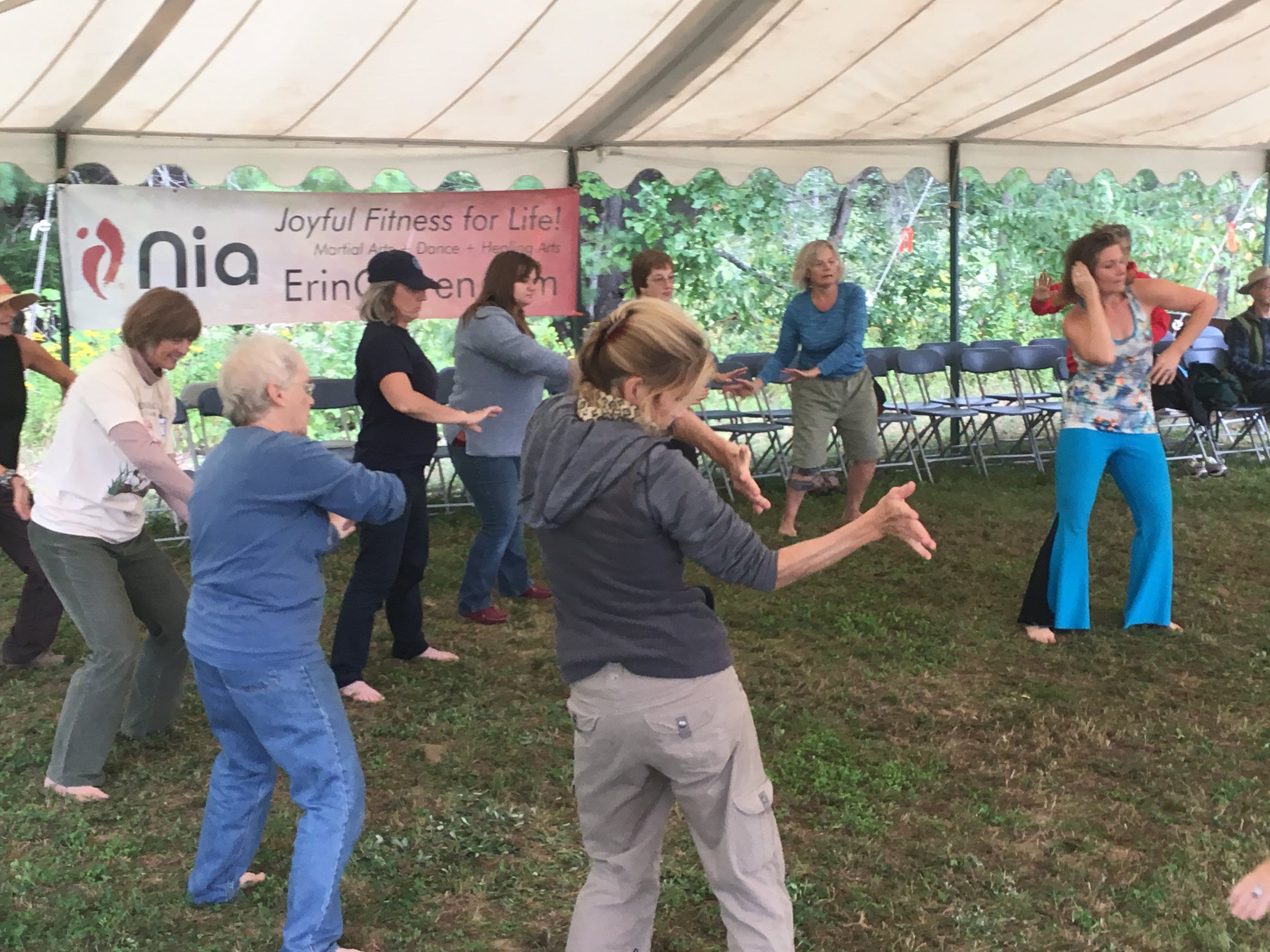 Each September I volunteer to bring Nia to the Common Ground Fair in Unity, Maine. Look for us Friday, September 20, 2019 at 10am at the Whole Life Tent! All are welcome, and the class experience is included in your entry to the Fair.