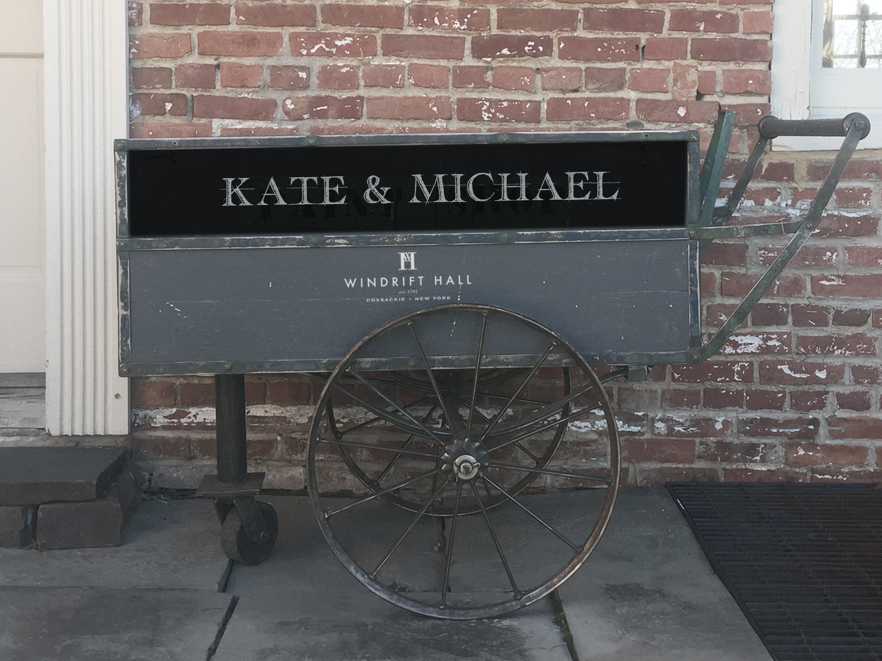 An industrial vintage cart on wheels with multiple uses as a portable bar, storing ice and bottles or simply as a very stylish cart transporting items back and forth . Both sides of the cart feature an area which can be customized with your name or message in chalk.    Fee: $100