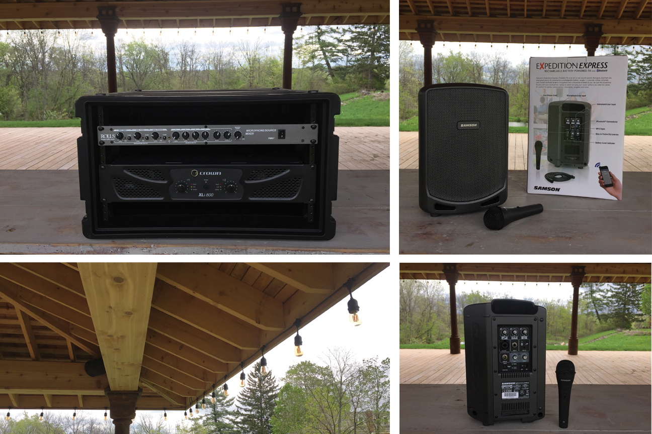 Built-in Sound System   Our state of the art  sound system is specifically designed to have best in class sonic characteristics and stunning high fidelity while keeping the sound within the confines of the pavilion. It comes with the pavilion for no extra fee. The system features 4 built in Evid two-way surface-mount loudspeakers under the roof , a Rolls RM 67 Mic/Source Mixer and a Crown Harman XLi Power Amplifier and is ideal to plug in your playlist from phone or laptop.  Portable Sound System  Our lightweight portable sound system features a 3 channel mixer with Mic, Line & Aux Inputs, a built-in rechargable battery with 8h battery life and connects via Bluetooth to your laptop or phone.  Fee: $300