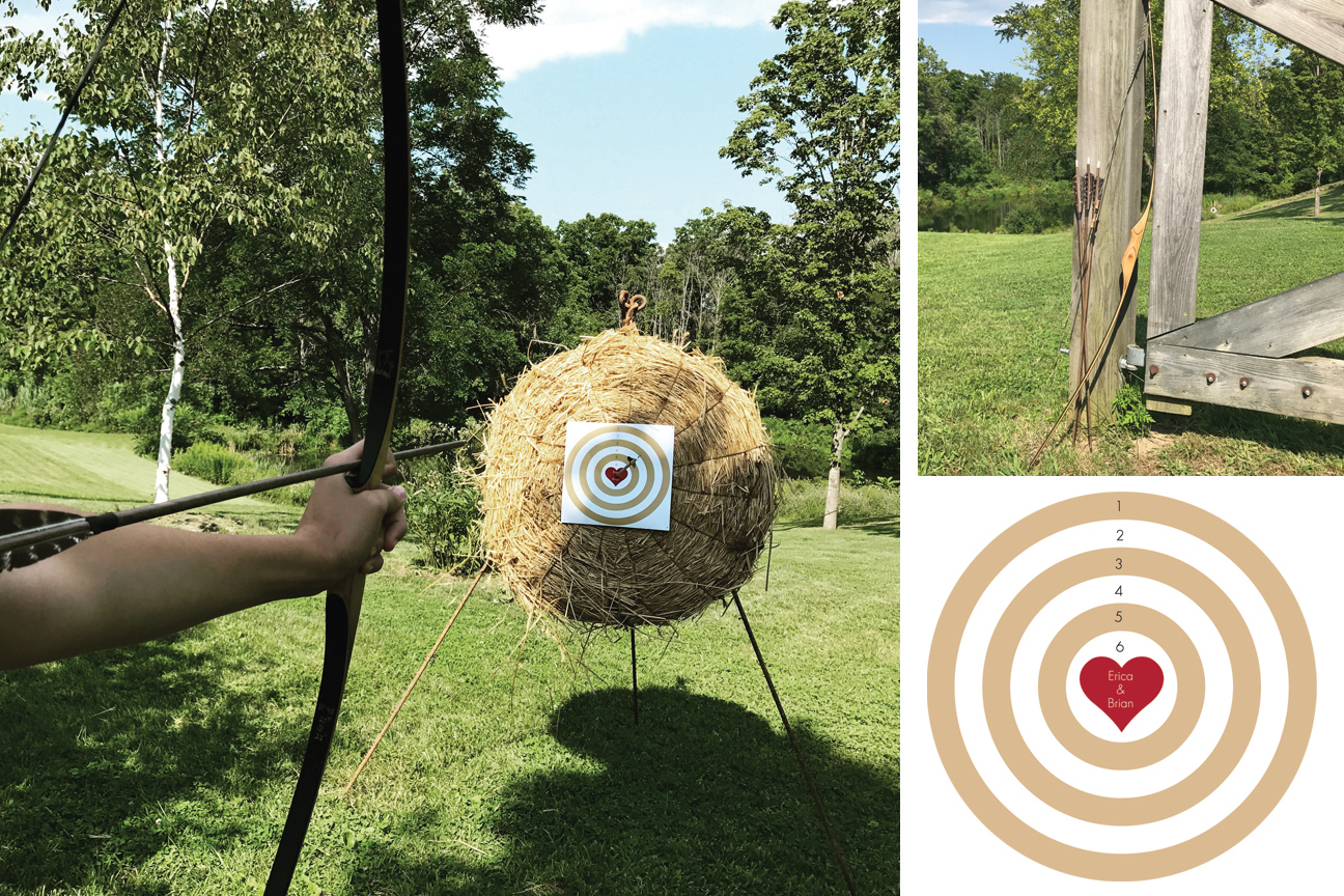 Archery Set  The set contains a traditional Wooden Longbow,  12 Pcs Turkey Feather Fletching Wooden Target Arrows with Field Points , 2 leather Arm Guards, a Vintage Straw Target with a cast iron Tripod Stand and a set of 3 customized target boards on thick cardboard with the name of the couple imprinted.