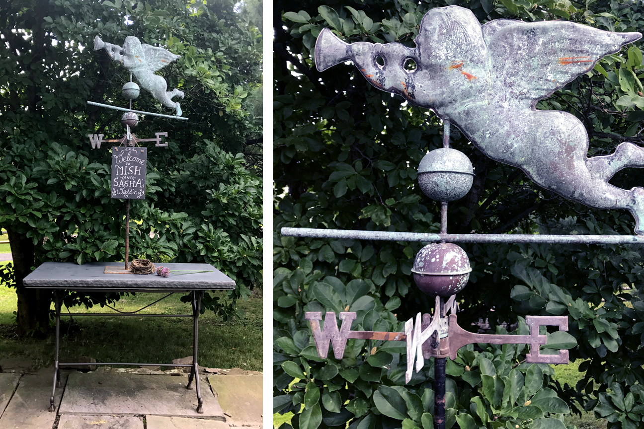 This 19th century weathervane depicts the trumpeting Angel Gabriel and is considered the most desirable and rare form in the iconography of American weathervanes. Gabriel embodies the magic of the Heavens and the highest personification of human fantasy. The beautiful weathered surface combined with the artist's aesthetic decisions create a serendipity of nature and men. Trumpet good tidings over the site of your wedding with the W and E of the weathervane directionals celebrating the WE of your union. Make it a beautiful centerpiece in any of your settings and customize it with your personal message on individual slate chalkboards, that complement the finish of our local lime stone tabletops and vintage french cast iron tables.  Fee:      $100