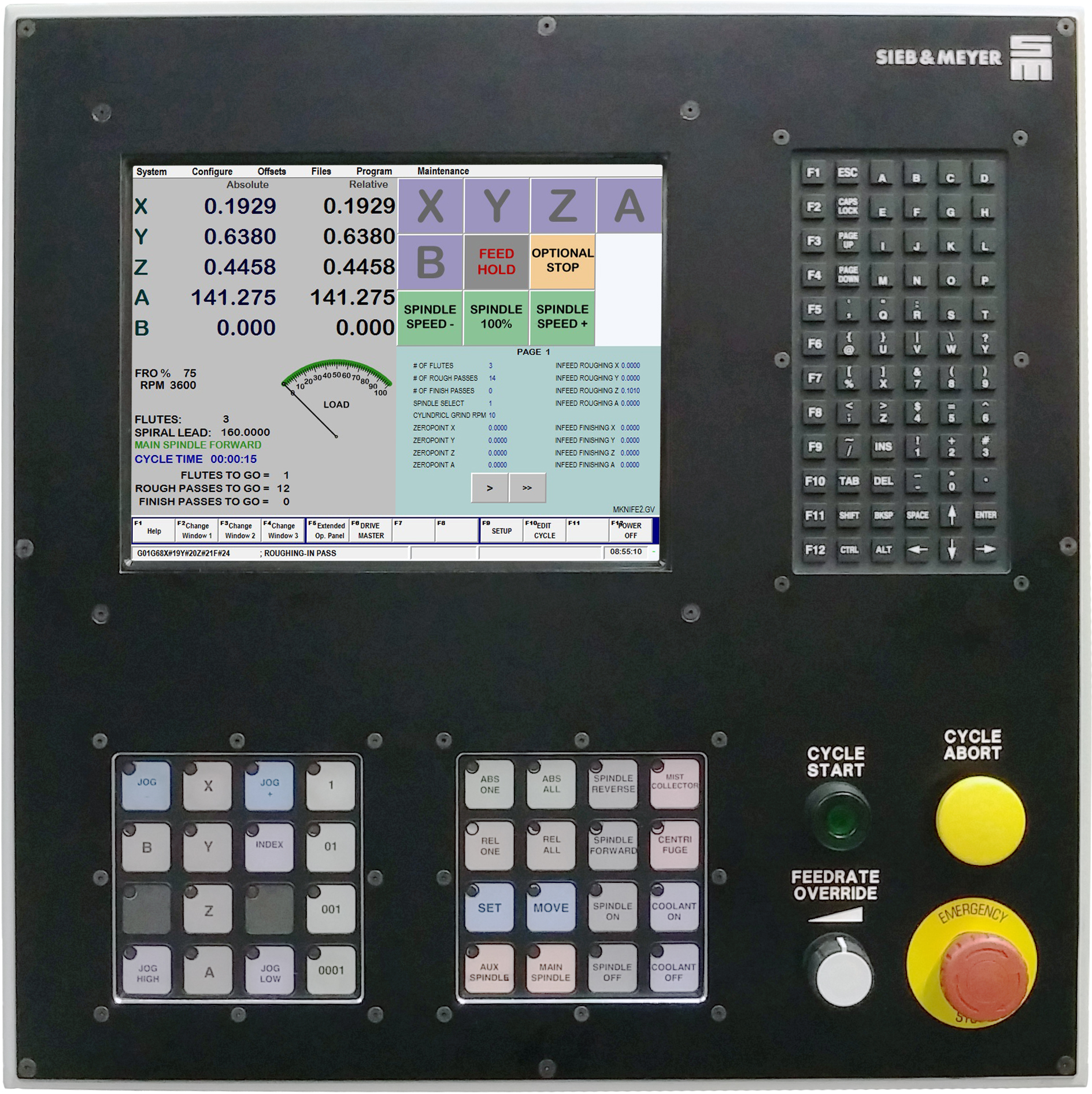 SIEB & MEYER CNC PMC 9 FRONT OPERATOR PENDANT