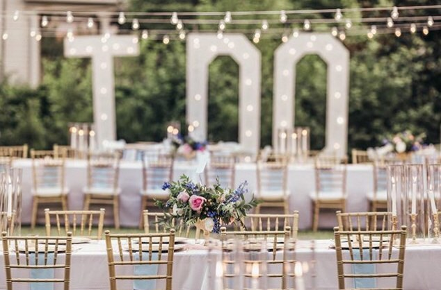 """I do...I do, I do, I do, I do!"" This photo of Morgan's beautiful garden reception on the upper terraced lawn makes me want to sing these lyrics from ""Hamilton""! #sparklebride #brienochphotography www.thecumberlandhouse.info"