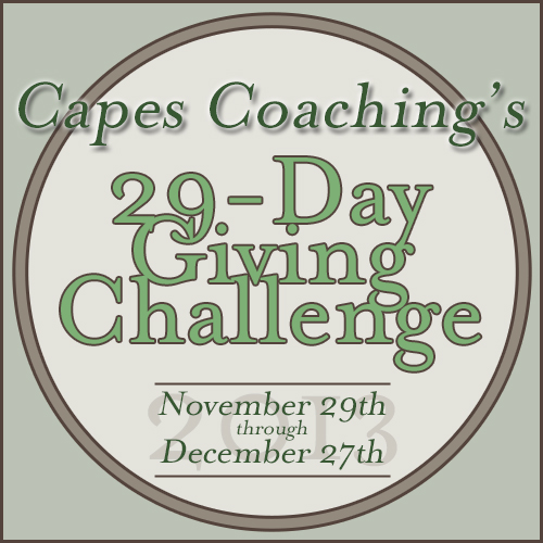 Capes Coaching's 2013 29-Day Giving Challenge