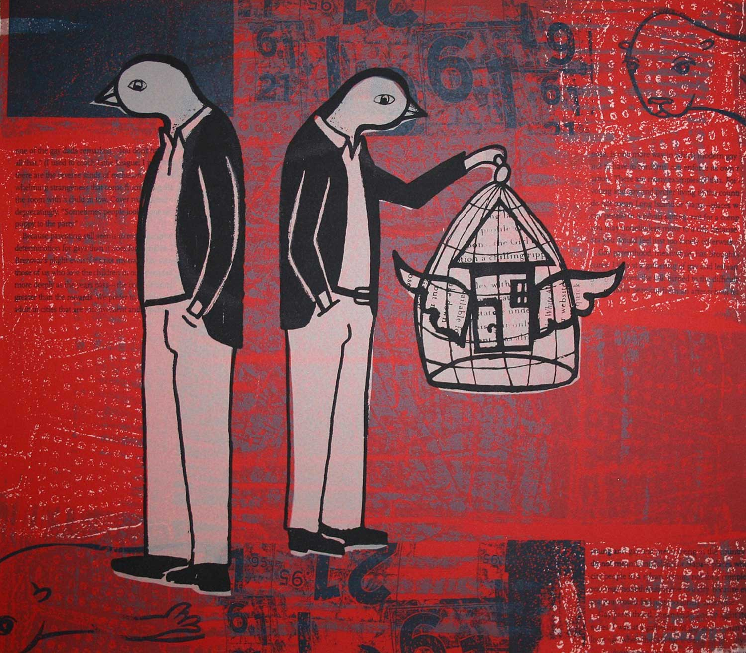 Caged and Uncaged I in Red, 2007 Serigraph, 14 x 12inches.