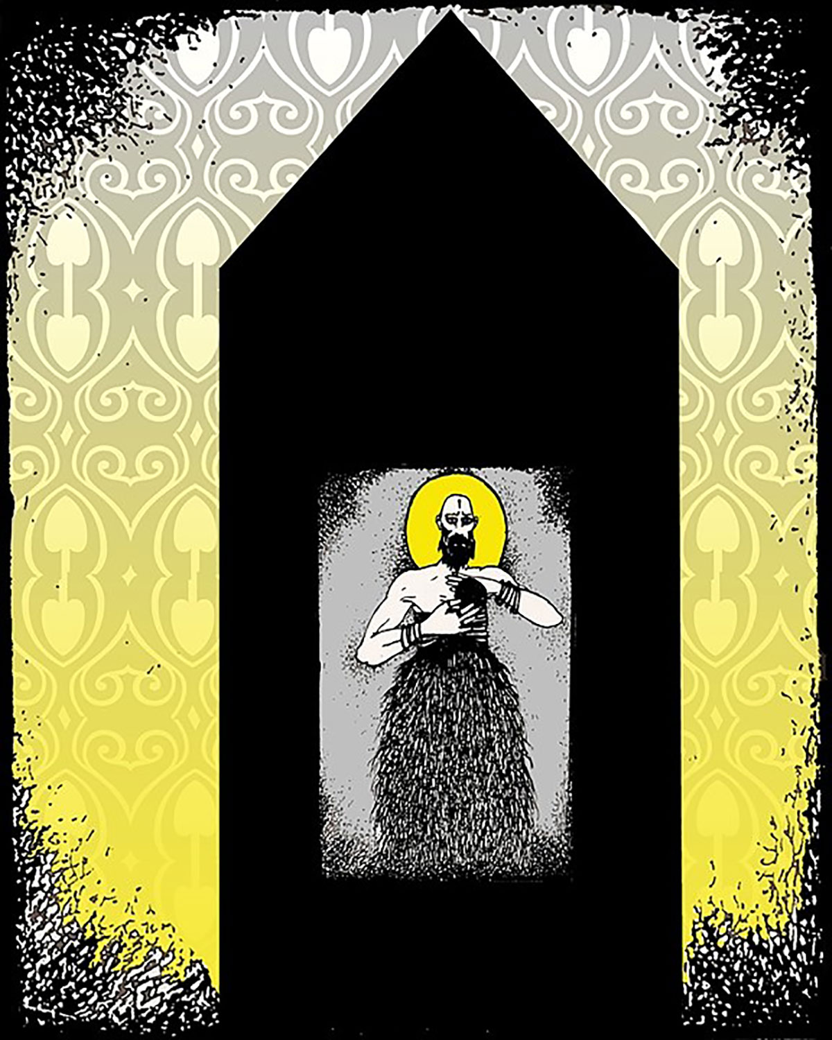 Pretense Temple - Cadmium Yellow, 2006 Serigraph and Digital Print, 17 x 15 inches.