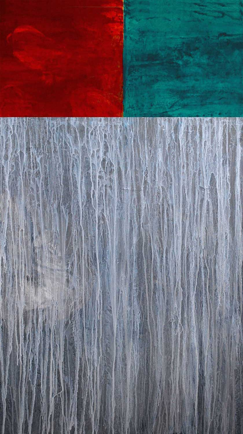 Brand en ijs, 2015 Acrylic on canvas, 24 x 48 inches.