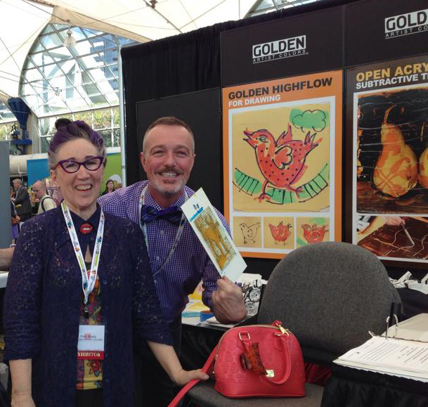 Patti Brady and I having a little fun in the Golden booth for the National Art Education Association 2014 Conference in San Diego, CA.