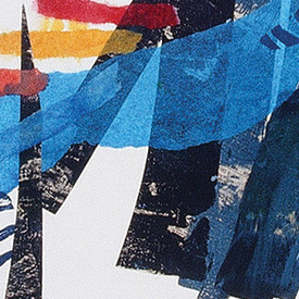 A detail of a Chine-colle©, combining the element of collage with printmaking using GOLDEN Soft Gel and OPEN Acrylics.