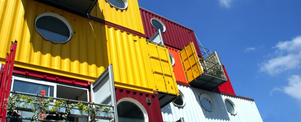 Container City in London is a mixed development of work spaces and homes