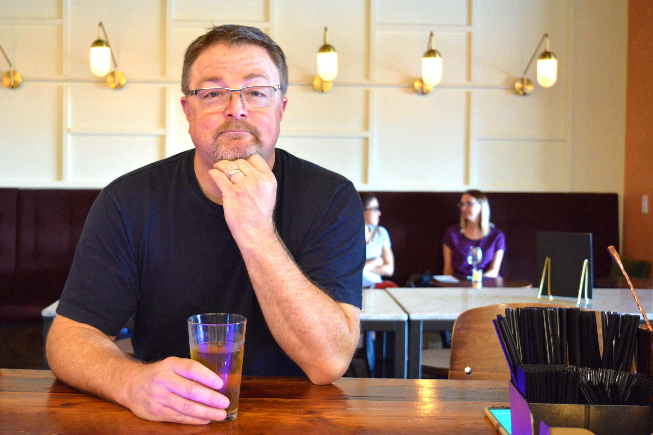 Dennis Dunwoodie drinking an Anderson Valley Gose