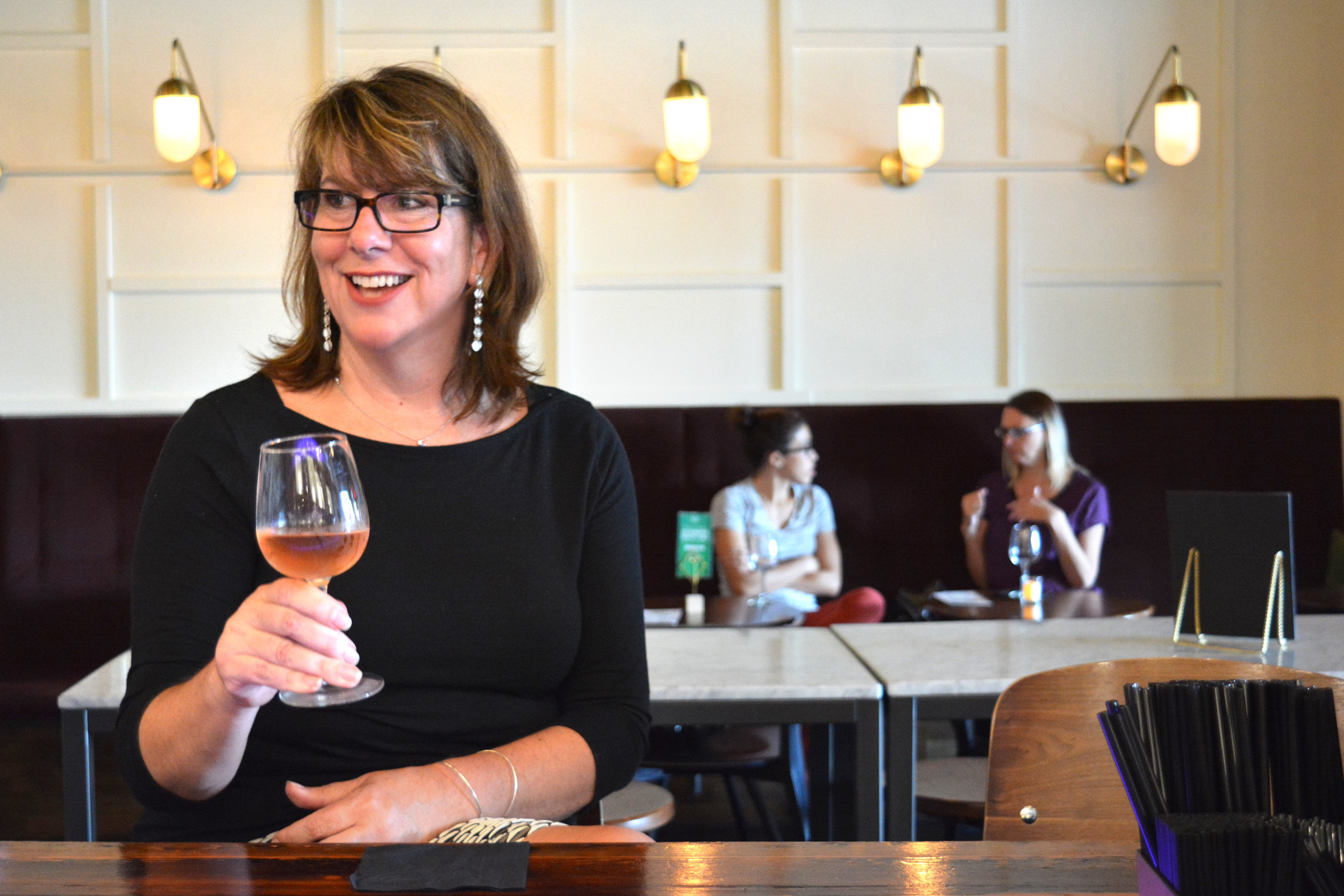 Catherine Dunwoodie drinking Belleruche Cotes-De-Rhone Rosé