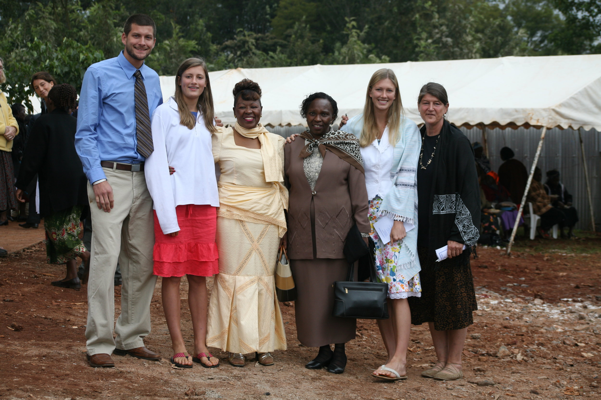 Hannah, Geneva, their family, and hospital nurses on the groundbreaking day the Sugarbaker Memorial Clinic was opened.