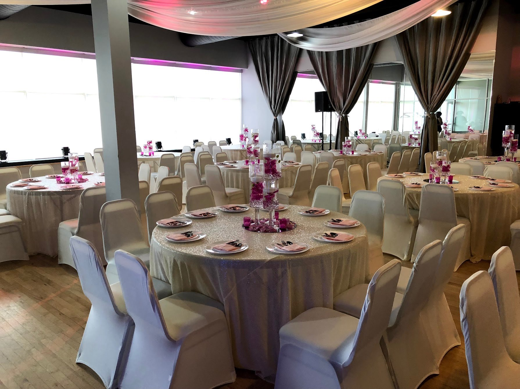 Midpointe Event Center Sterling Hall Silver and Magenta Wedding Table Decor.jpg
