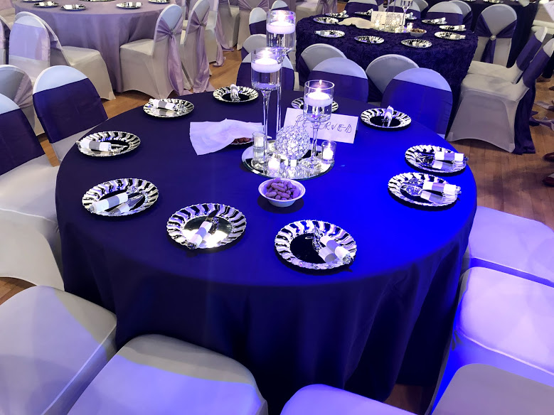 Midpoitne Event Center purple White and Silver Decoration Banquet.jpg