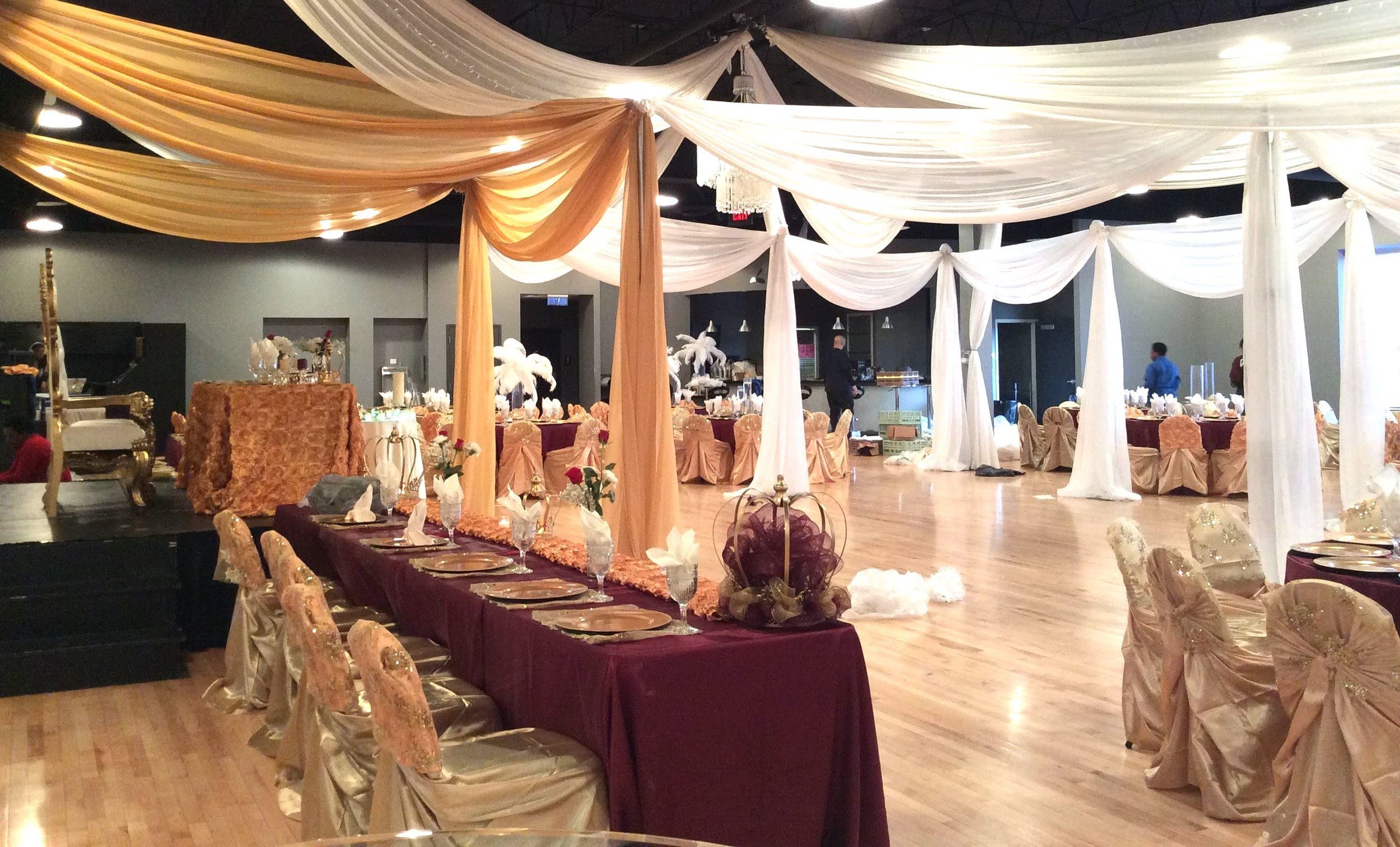 Midpointe Event Center Wedding Reception Gold and White Draping with Maroon.JPG