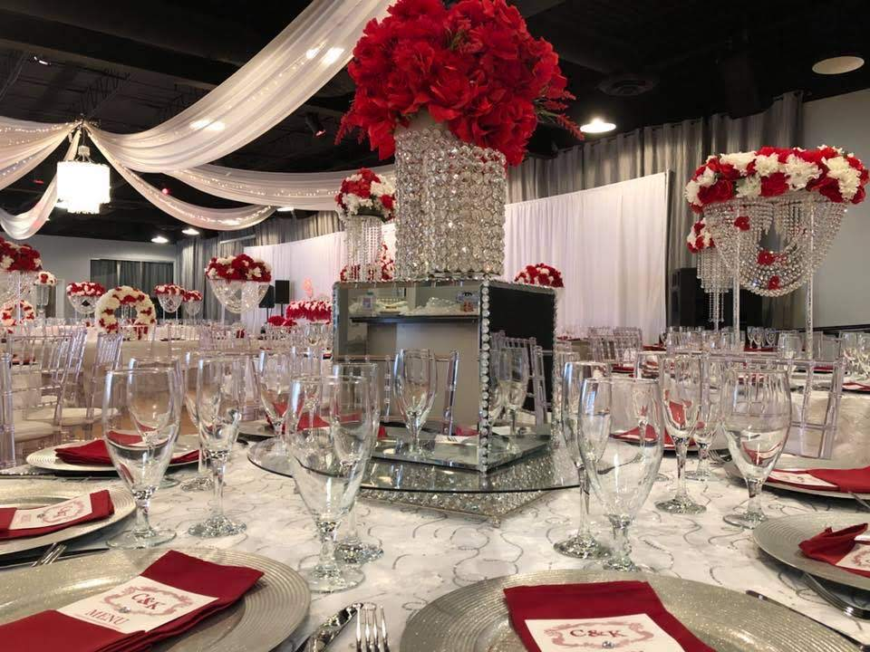 Midpointe Event Center Majestic Hall Red and Silver Table Decor Wedding.jpg