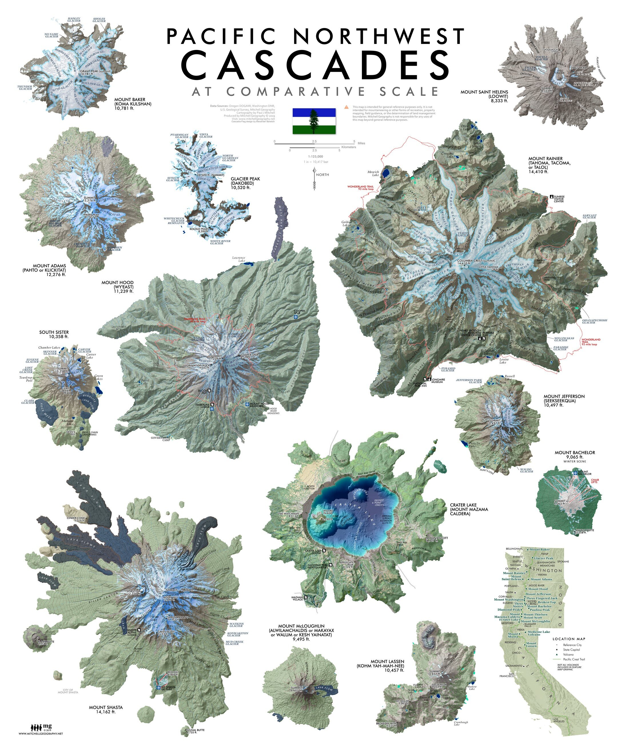 New Cascades 20 inches x 24 inches featuring the prominent Cascade peaks from Lassen in the south to Baker in the north… plus a nifty location map that includes the PCT centerline for reference.