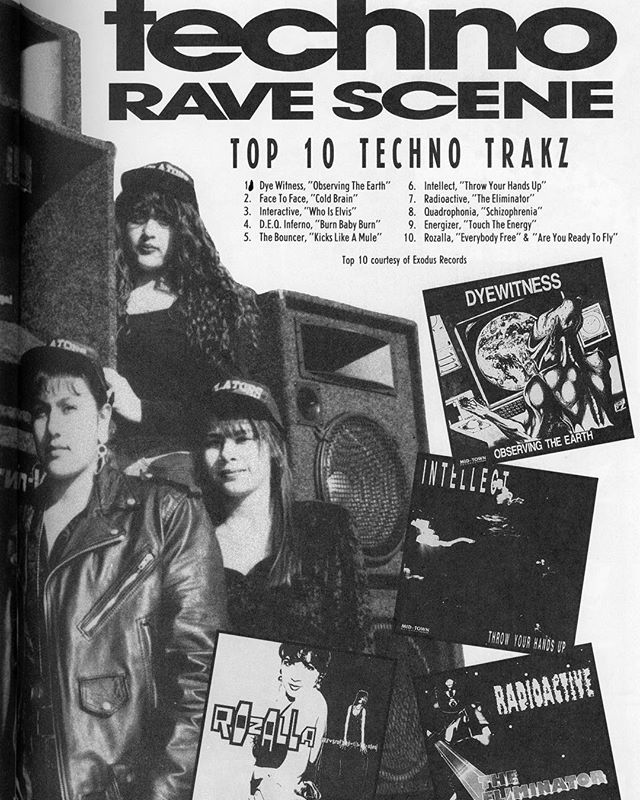 Techno Rave Scene 1991 Top 10 techno tracks courtesy of Exodus Records (Anyone recognize what crew they are from?) Update: members of The Violators crew 💣💊⛓