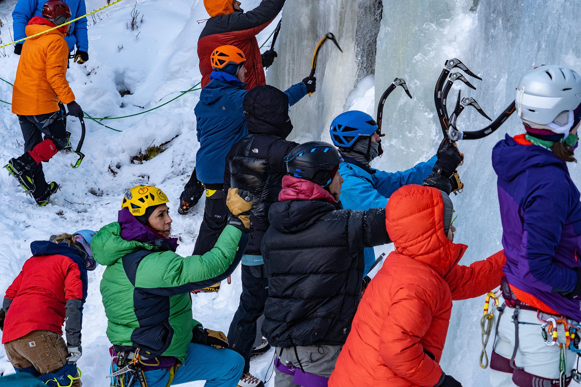 Nikki Smith teaching proper ice climbing technique. Photo credit Sarah Klintworth.