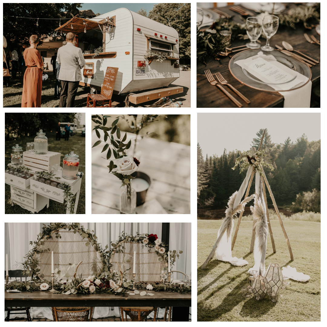 Chloe +Dany   Location / Venue  Golf L'oasis   Photographe/Photographer  Valerie Gay Bessette   Video  Go Brien Productions   Sylisme+location / Styling+rentals  Le Coeur Bohème   Fleuriste / Florist  Kyoto Fleurs   Sucrerie / Sweets  Little Leah's kitchen