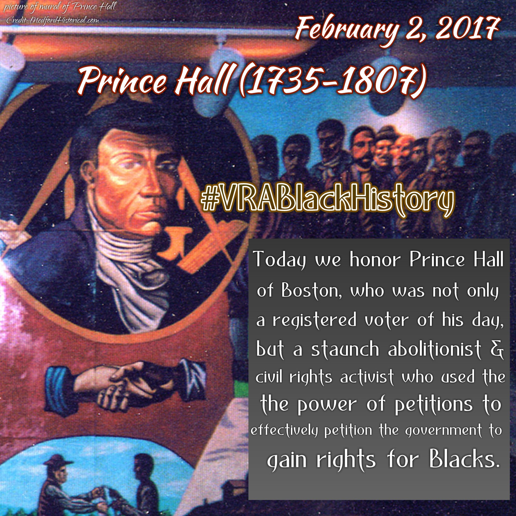 Today we honor Prince Hall of Boston, who was not only a registered voter of his day, but a staunch abolitionist and civil rights activist who used the power of petitions to effectively petition the government to gain rights for Blacks.  This article exemplified the complexities of the fight for Black suffrage during a colonial era built on the immoral institution of slavery.