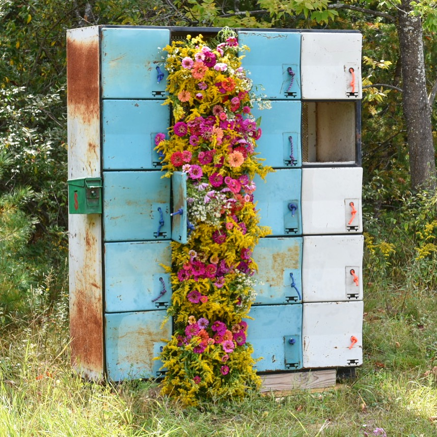 """Flower bombing"" Roadside Lockers in Wilmington, NY -This project was picked up by Flower Magazine!"