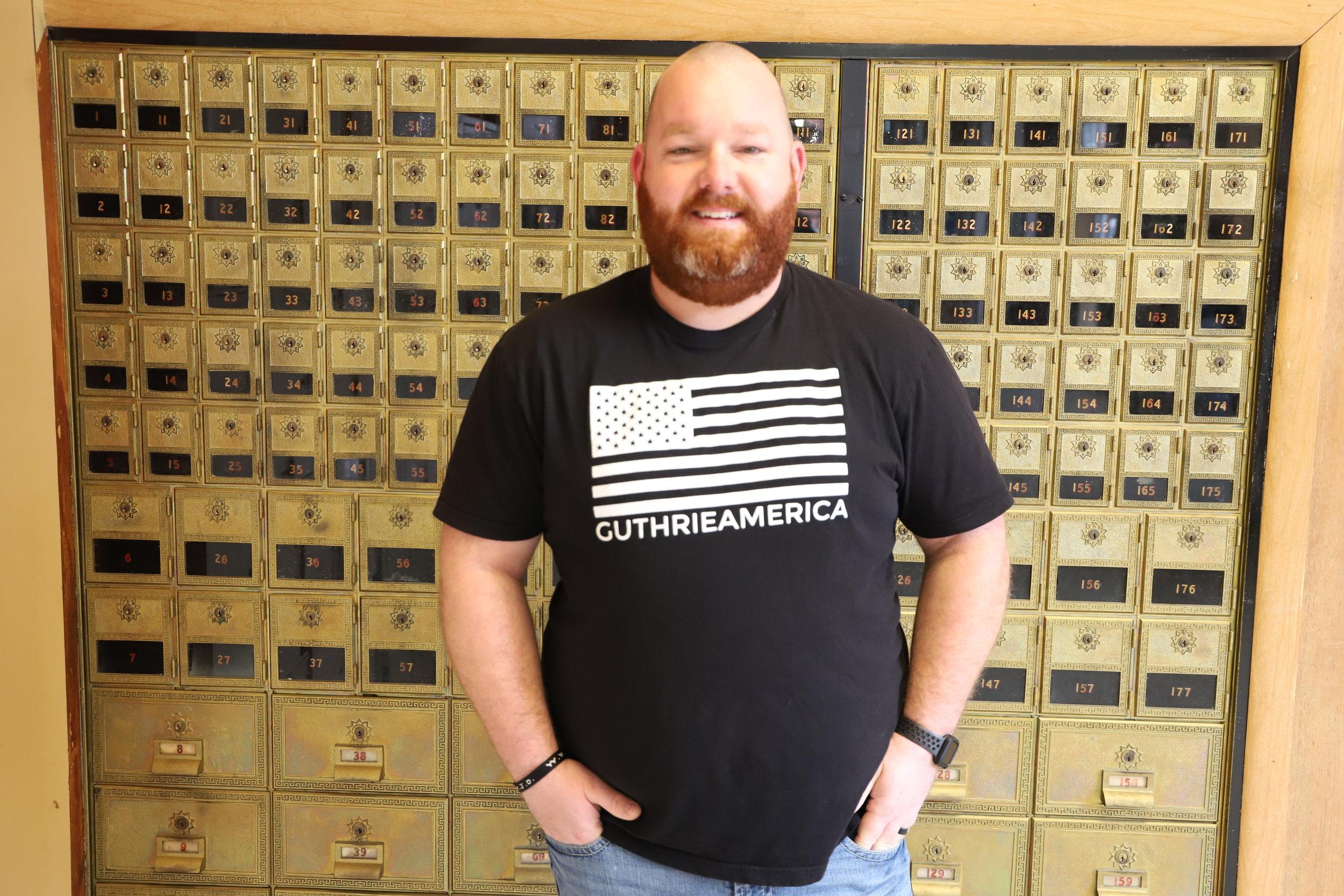 Cody Stewart in GuthrieAmerica tee shirt