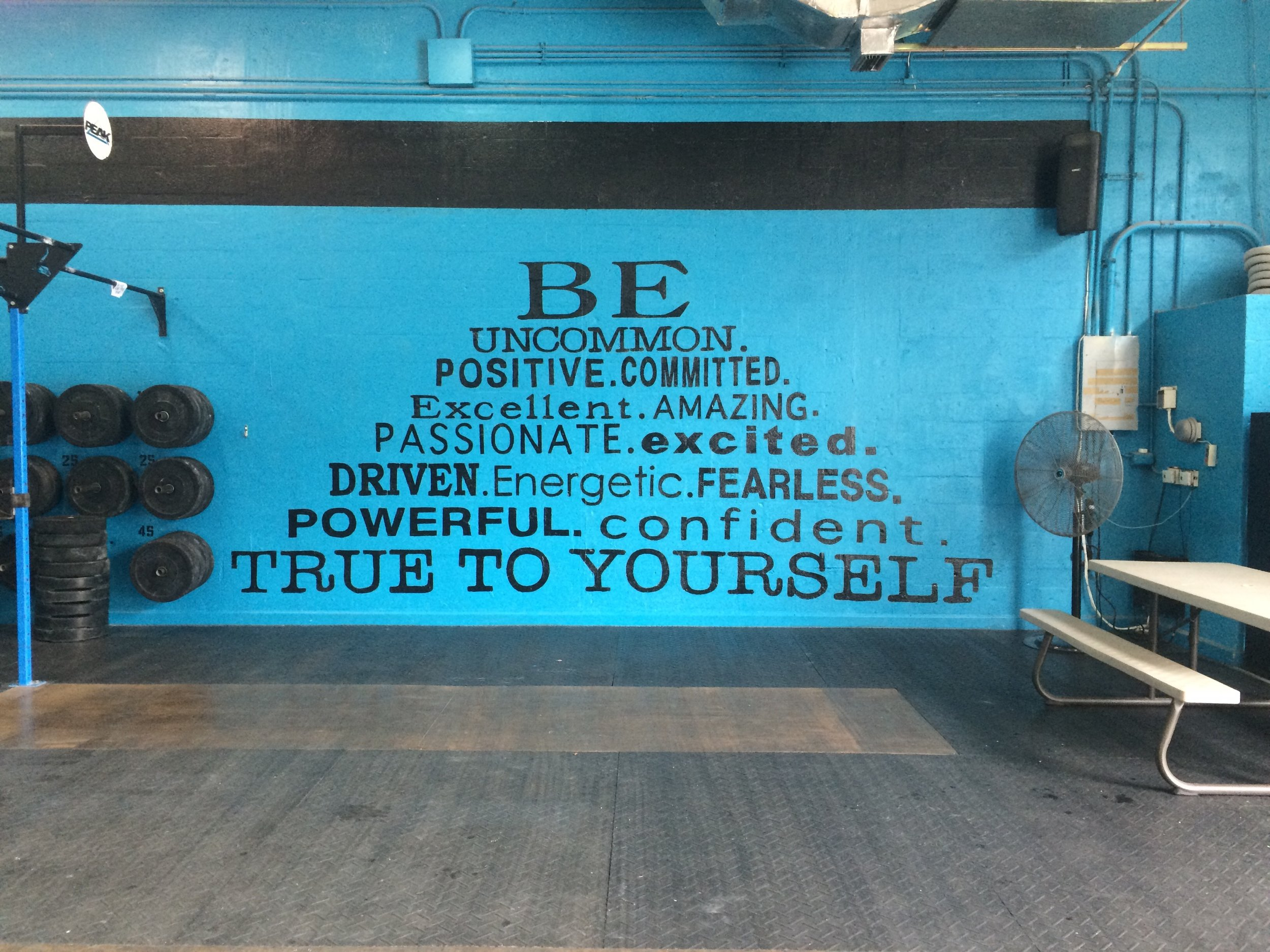 Peak 360's motto painted on one of the walls