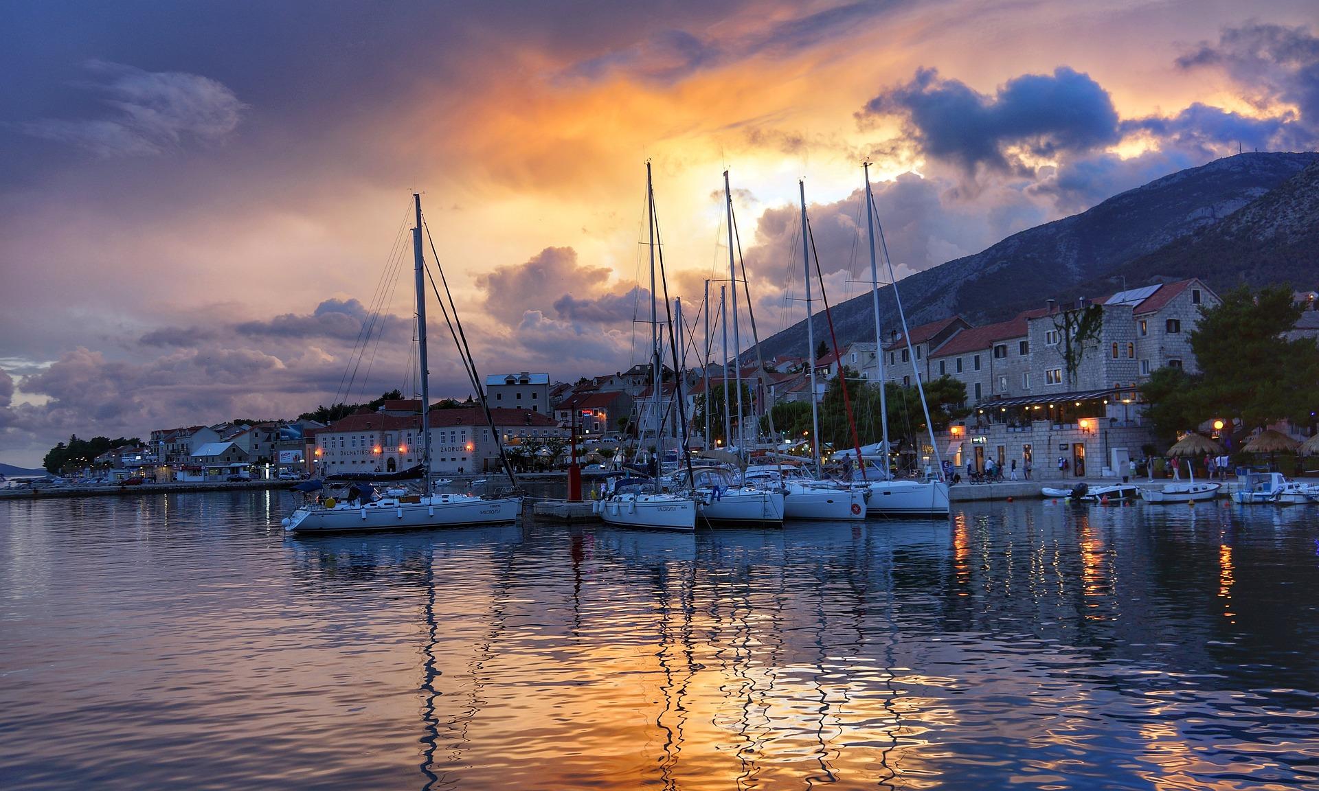 Split, Croatia at dusk