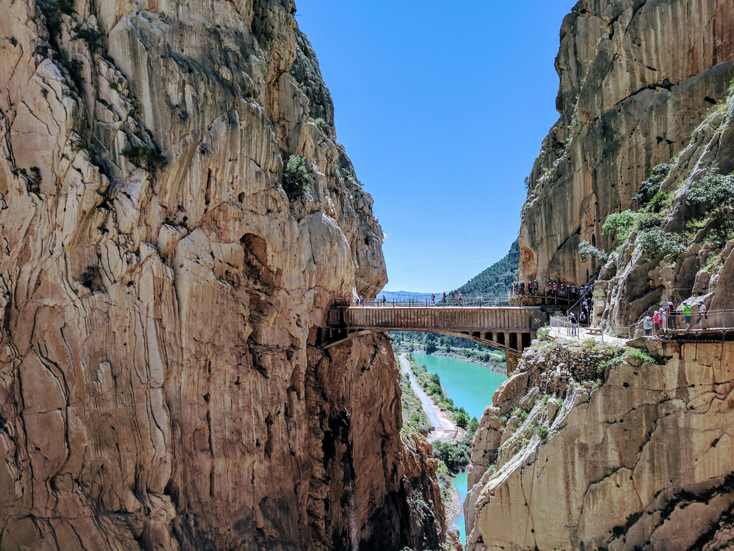 Crossing a new bridge in Caminito del Rey after renovations in 2015.