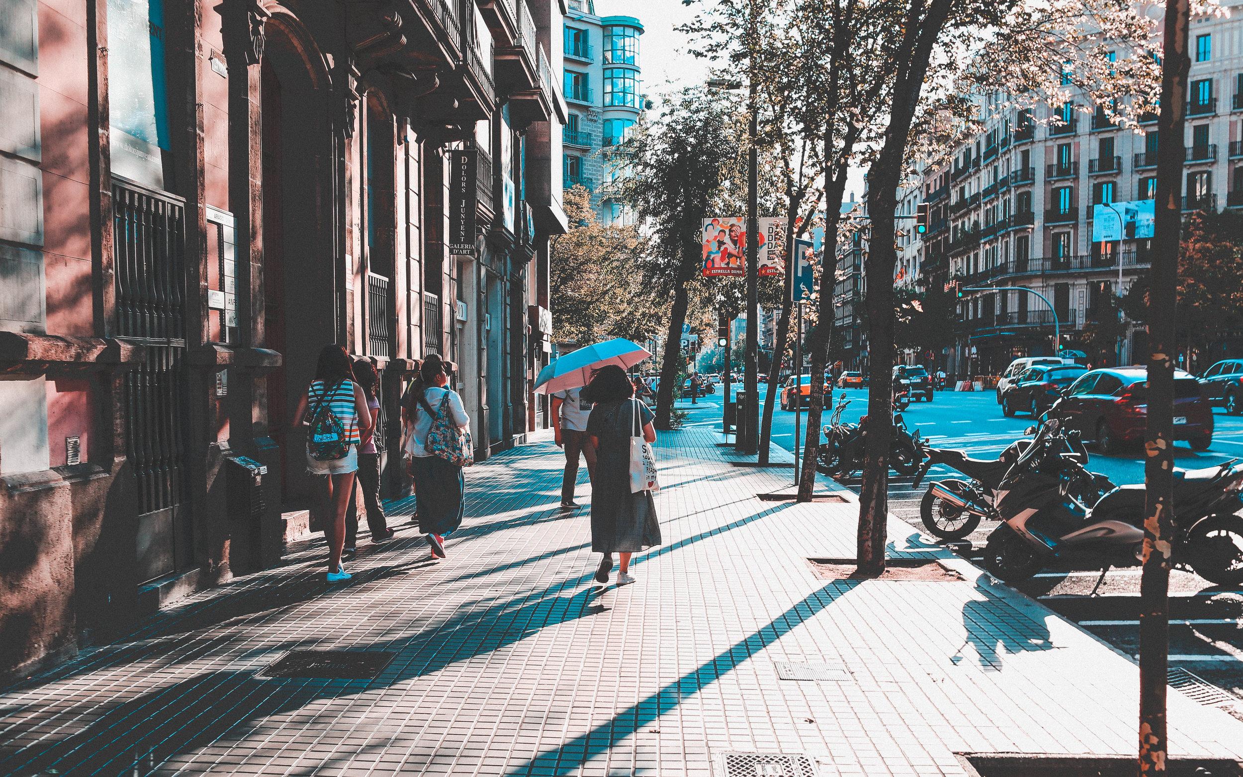 city center europe walking