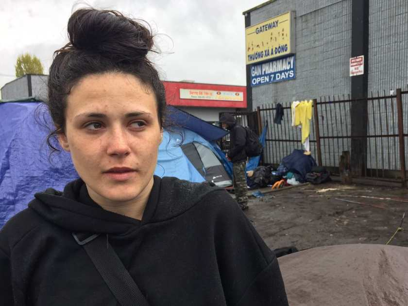 Alexandra Sayers stands by her tent and talks about living on 135A Street, also known as the Surrey Strip. The 21-year-old, who has an addiction, has been living on the Strip for about a year.JENNIFER SALTMAN/PNG /PNG    Surrey drug users frustrated - Vancouver Sun Story