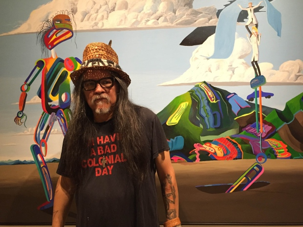 Lawrence Paul Yuxweluptun's paintings make striking use of colour and surreal West Coast imagery - photo by Margaret Gallagher - CBC.JPG