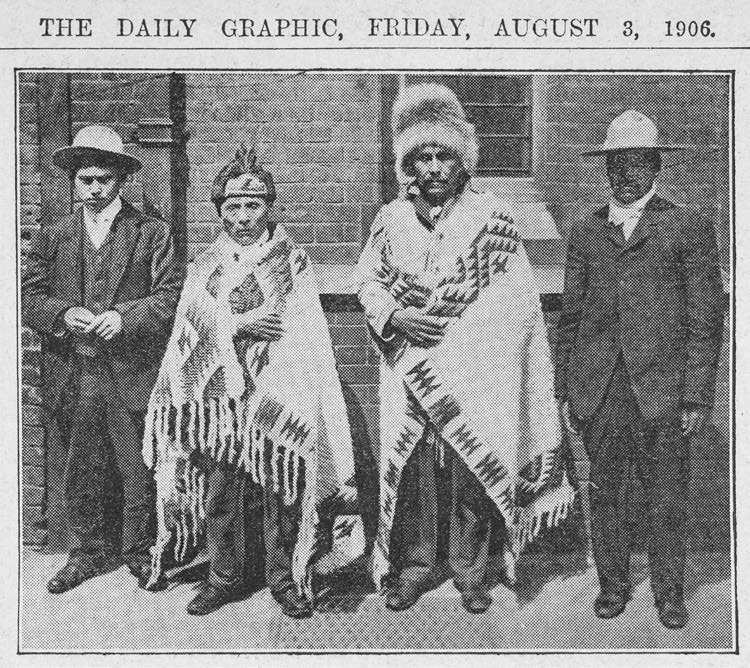 Translator Simon Pierre with Cowichan Chief Tsulpi'multw with Chiefs Joe Capilano and Basil David (left to right) in London to deliver the Cowichan Petition, 1906. Credit: British Library Board