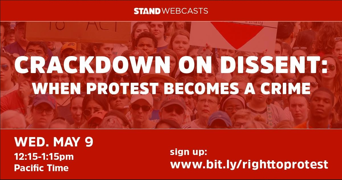 Social Justice Centre member and Kwantlen criminology professor Irina Ceric will present on injunctions, contempt, and the criminalization of dissent during this webinar. Please join in!   Stand    May 3 at 11:00am ·  Governments are cracking down on demonstrations and dissent and have been targeting movements for the environment, Indigenous sovereignty, Black lives, and immigrant rights.  RSVP for our webcast: http://bit.ly/righttoprotest