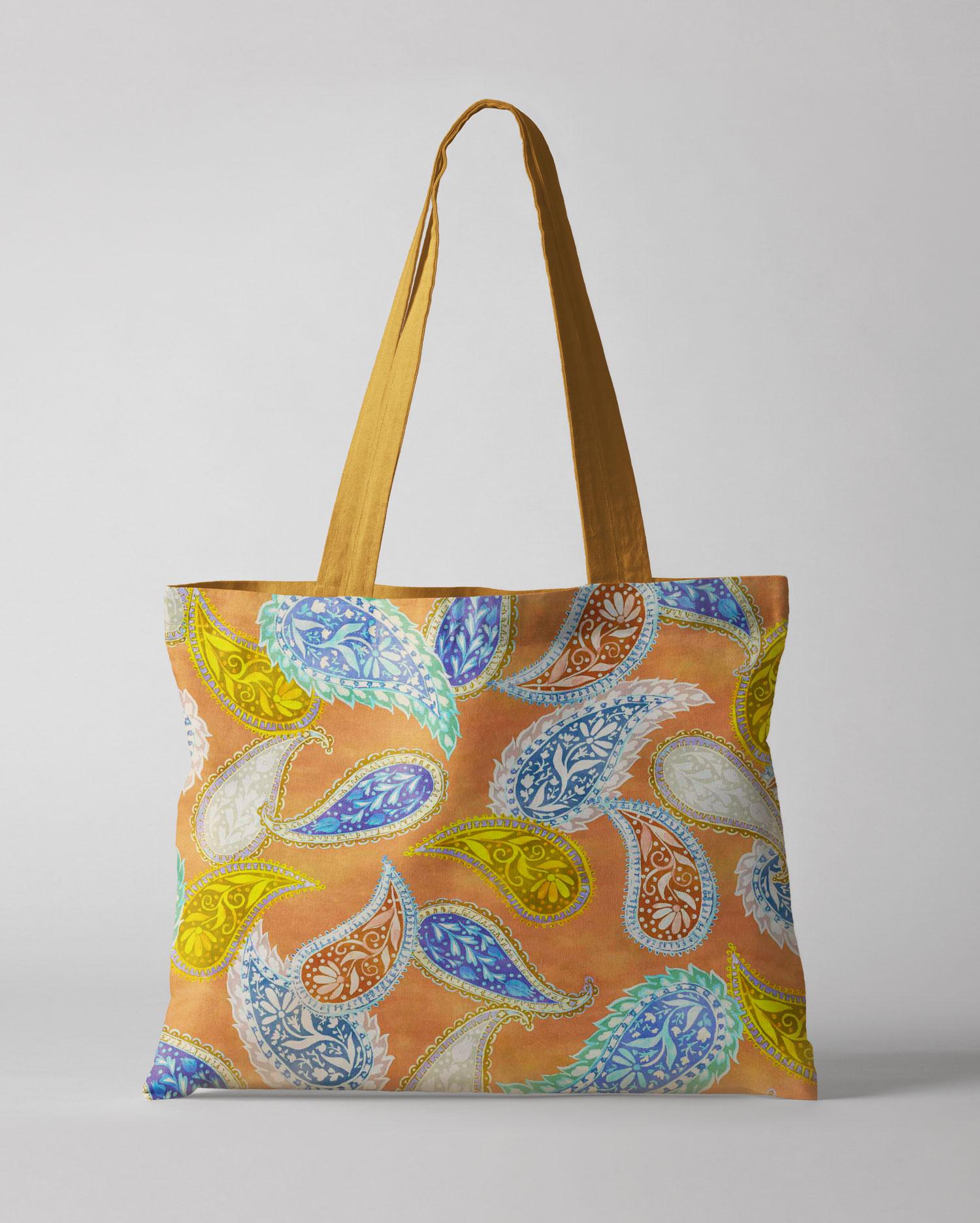 folk paisley design on a shopping bag, mock up